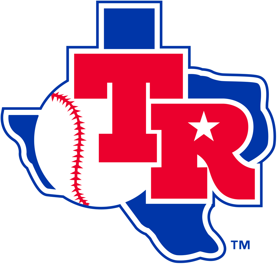 Texas Rangers Logo Primary Logo (1982-1983) - Red TR with baseball on blue Texas SportsLogos.Net
