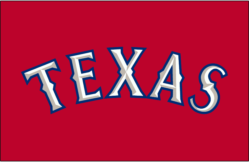 Texas Rangers Logo Jersey Logo (2009-2013) - Texas in white with silver bevelling and blue outline on red. Worn on Texas Rangers red alternate jersey from 2009 to 2013. Bevelling from lettering removed for 2014 season. SportsLogos.Net