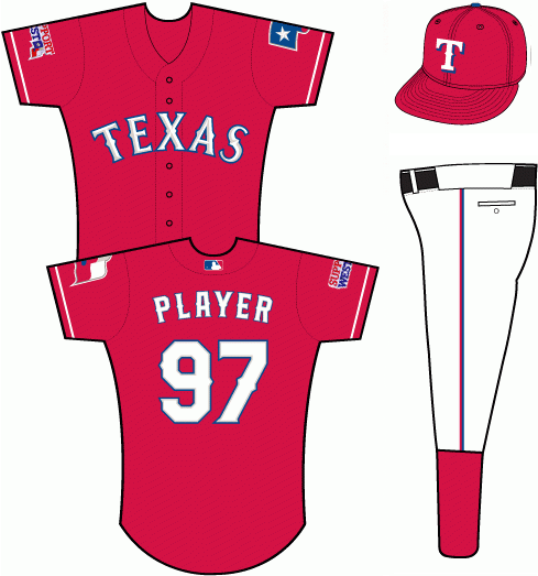 Texas Rangers Uniform Special Event Uniform (2013) - Red uniform with TEXAS arched across in white letters with blue trim.  SUPPORT WEST patch worn on right sleeve opposite Texas flag patch.  All red cap with white T on front. SportsLogos.Net