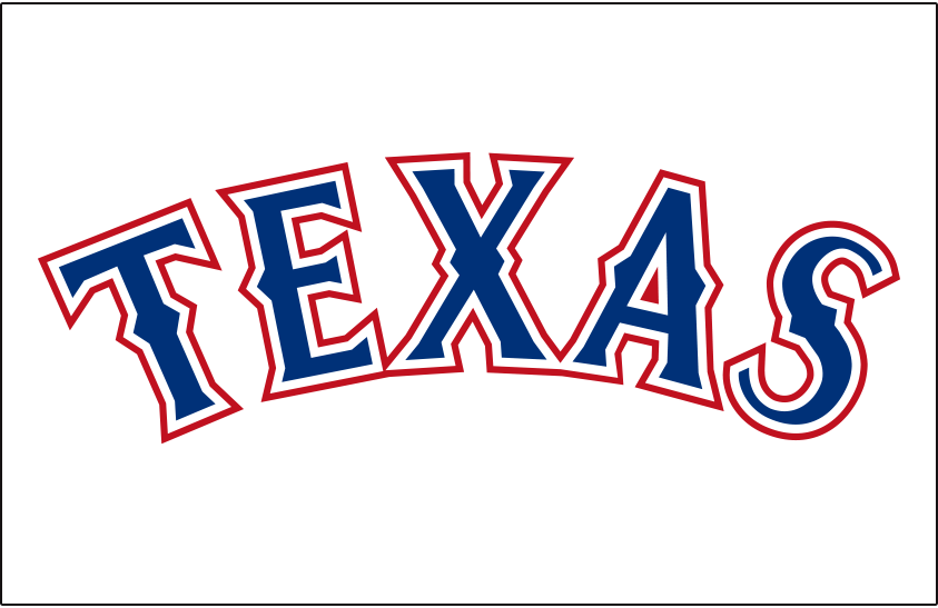 Texas Rangers Logo Jersey Logo (2014-2019) - TEXAS arched in blue and red, worn on Rangers home jersey from 2014 to 2019 SportsLogos.Net
