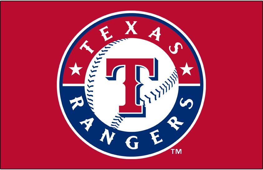 Texas Rangers Logo Primary Dark Logo (2003-Pres) - Texas Rangers primary logo on red background SportsLogos.Net