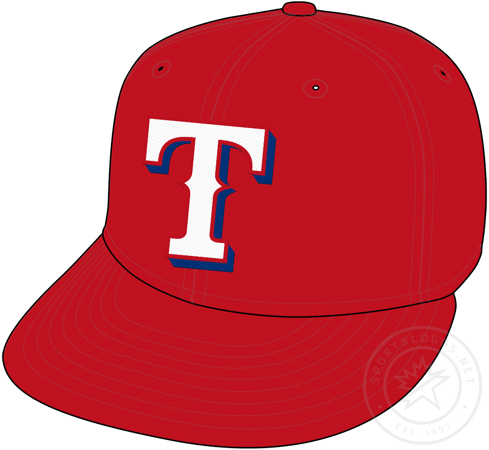 Texas Rangers Cap Cap (2009-Pres) - Red crown with white T logo, worn ocassionally with Rangers home uniforms and alternate red jerseys starting in 2009 SportsLogos.Net