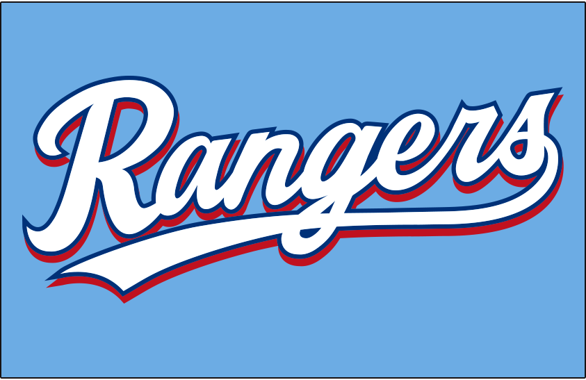 Texas Rangers Logo Jersey Logo (2020-Pres) - Rangers in white scripted with blue trim and a red drop shadow, worn on Texas Rangers powder blue home alternate uniform starting in 2020 season SportsLogos.Net