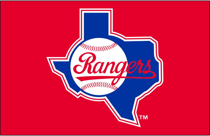 Texas Rangers Logo Primary Dark Logo (1984-1993) - Texas Rangers primary logo on red background SportsLogos.Net