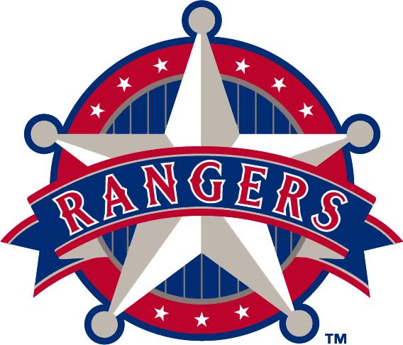Texas Rangers Logo Alternate Logo (1994-2002) - Rangers in banner across a badge SportsLogos.Net