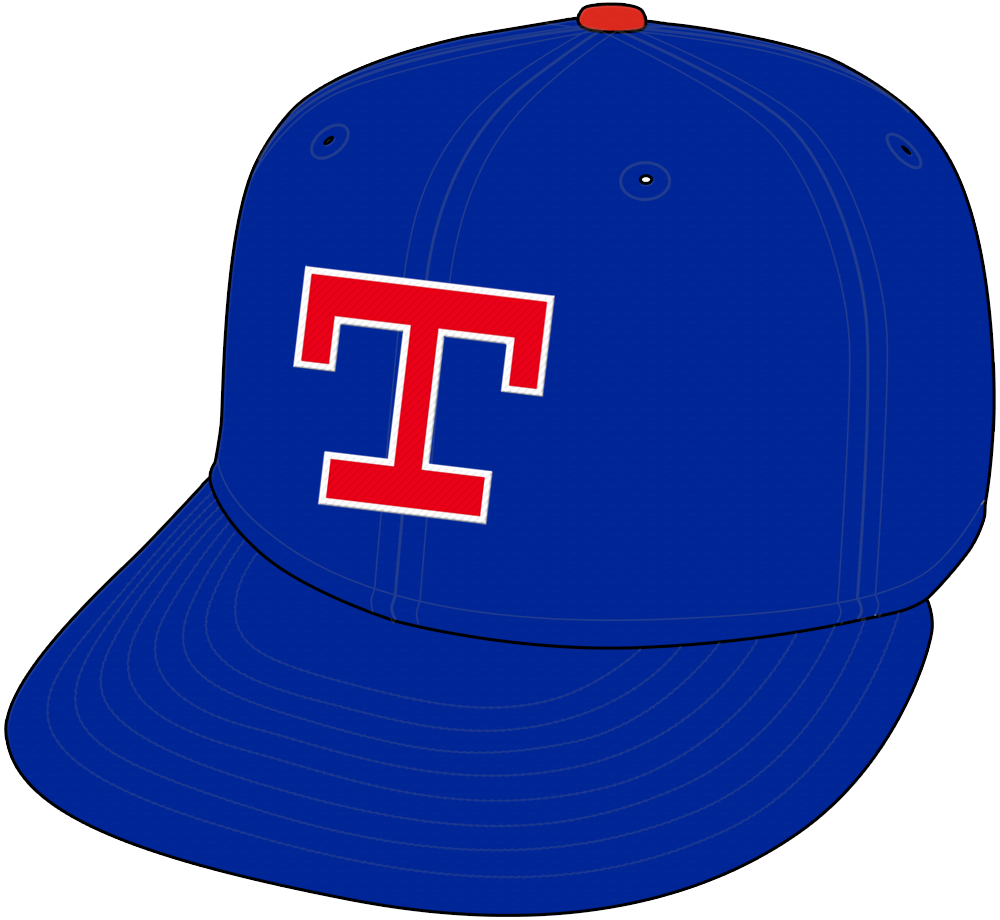 Texas Rangers Cap Cap (1986-1993) - Red T with white trim on blue cap with red pill, worn for home and road Texas Rangers games from 1986 through 1993 SportsLogos.Net