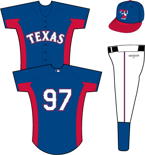 Texas Rangers Uniform Practice Uniform (2013) - Texas in white with silver, blue, and red outlines on a blue uniform with red side and underarm panels SportsLogos.Net