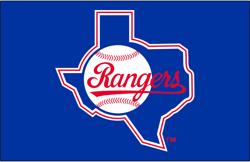 Texas Rangers Logo Primary Dark Logo (1984-1993) - Texas Rangers primary logo on blue background SportsLogos.Net