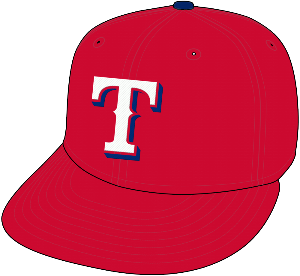 Texas Rangers Cap Cap (1994-2000) - White T with blue drop shadow on red cap with blue pill, worn for home and road Texas Rangers games from 1994 through 1999, switched to home only in 2000 SportsLogos.Net