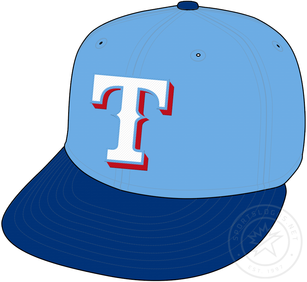 Texas Rangers Cap Cap (2020-Pres) - Powder blue crown with white T on the front, blue visor and button SportsLogos.Net
