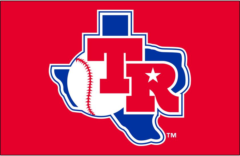 Texas Rangers Logo Primary Dark Logo (1982-1983) - Texas Rangers primary logo on red background SportsLogos.Net
