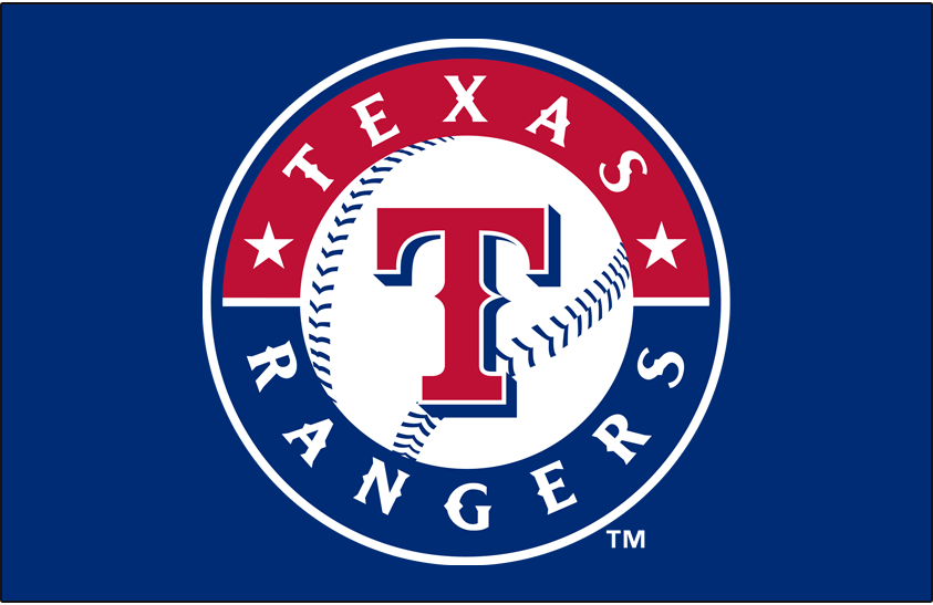 Texas Rangers Logo Primary Dark Logo (2003-Pres) - Rangers primary mark on blue SportsLogos.Net