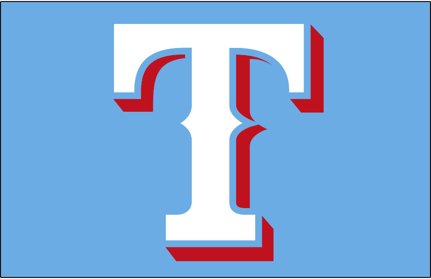 Texas Rangers Logo Cap Logo (2020-Pres) - White T with red drop shadow, worn on Texas Rangers powder blue alternate home cap starting in 2020 season SportsLogos.Net