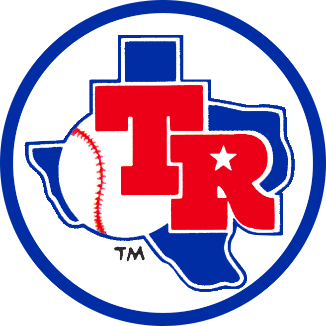 Texas Rangers Logo Alternate Logo (1981-1982) - TR in red on a blue state of Texas inside a blue circle. Also worn on sleeves of both Texas Rangers home and road jerseys from 1981 to 1982 SportsLogos.Net