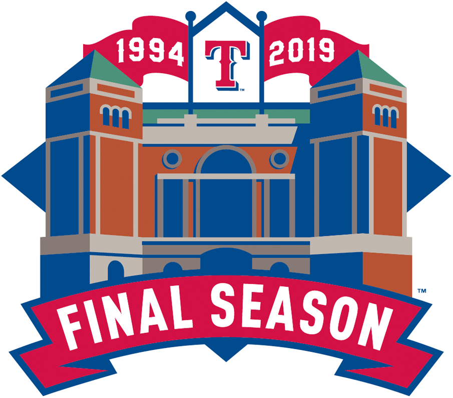 Texas Rangers Logo Stadium Logo (2019) - Globe Life Park in Arlington Final Season Patch worn on Home white and Alternate red Texas Rangers uniform sleeve in 2019 SportsLogos.Net