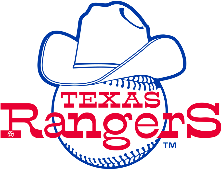 Texas Rangers Logo Primary Logo (1981) - Rangers written across a baseball wearing a cowboy hat, drop shadow behind lettering removed for 1981 SportsLogos.Net