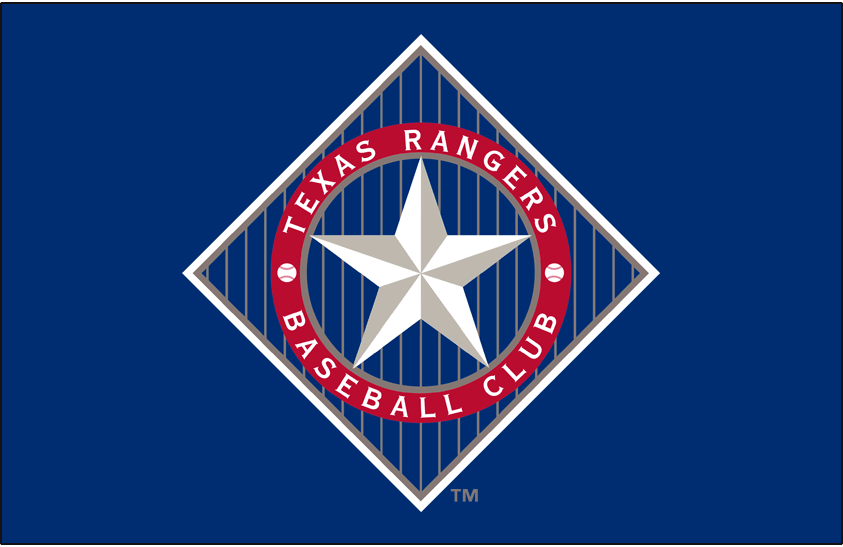 Texas Rangers Logo Primary Dark Logo (1994-2002) - Texas Rangers primary logo on blue background SportsLogos.Net