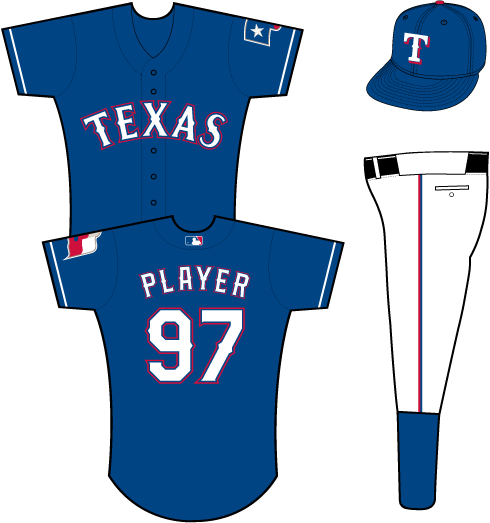 Texas Rangers Uniform Alternate Uniform (2014-Pres) - Texas in white with blue and red outlines on a blue uniform with white sleeve piping, Texas flag patch on left sleeve SportsLogos.Net