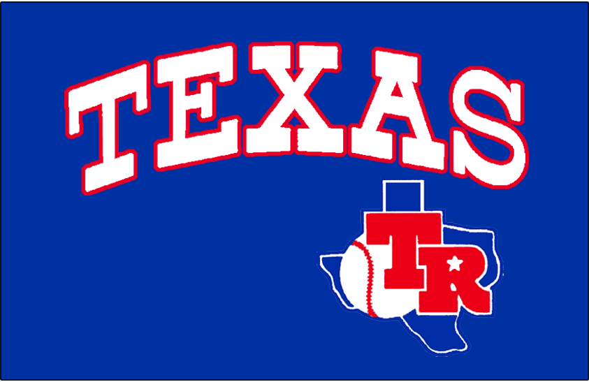Texas Rangers Logo Jersey Logo (1983) - Texas in white with red trim arched above the Texas Rangers primary logo. Worn on the Texas Rangers road blue uniform during the 1983 season only SportsLogos.Net