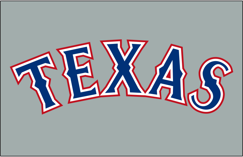Texas Rangers Logo Jersey Logo (2014-Pres) - TEXAS arched in blue and red, worn on Rangers road grey jersey starting in 2014 SportsLogos.Net