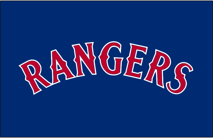 Texas Rangers Logo Batting Practice Logo (1994-2000) - Rangers arched in red with white trim on blue. Worn on the Texas Rangers blue batting practice jerseys from 1994 to 2000 SportsLogos.Net