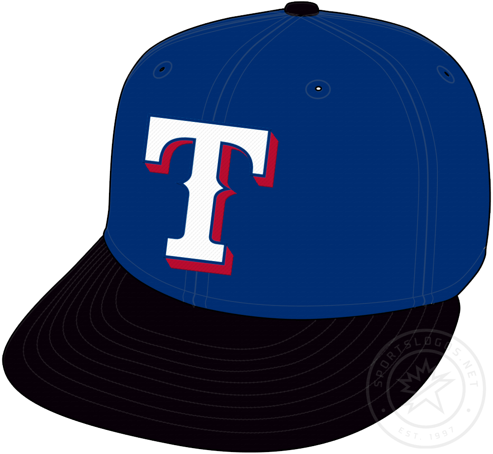 Texas Rangers Cap Cap (2001-2003) - White T on blue cap with black visor and bill, worn as a Texas Rangers alternate cap from 2001 to 2003 SportsLogos.Net