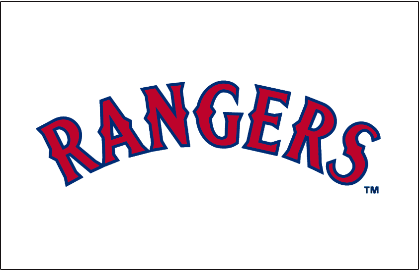 Texas Rangers Logo Jersey Logo (1994-2000) - Rangers arched in red with blue outline, worn on the Texas Rangers home white jerseys from 1994 until 2000. SportsLogos.Net