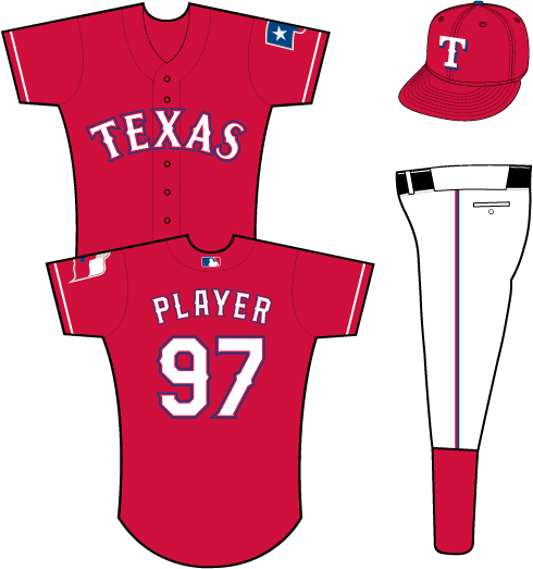 Texas Rangers Uniform Alternate Uniform (2014-Pres) - Texas in white with red and blue outlines on a red uniform with white sleeve piping, Texas flag patch on left sleeve SportsLogos.Net