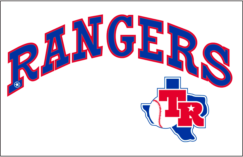 Texas Rangers Logo Jersey Logo (1983) - Rangers in blue with red trim arched above the Texas Rangers primary logo. Worn on the Texas Rangers home white uniform during the 1983 season only SportsLogos.Net