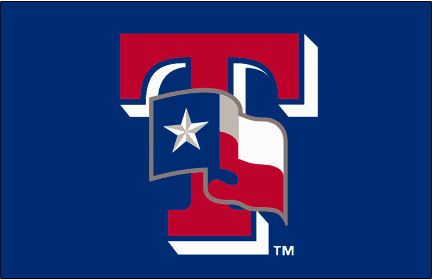 Texas Rangers Logo Batting Practice Logo (2013-2019) - The state flag of Texas waving on a red T with white drop shadow. Worn on the Texas Rangers batting practice cap starting in 2013. Worn previously on their BP cap from 2003-2006. SportsLogos.Net