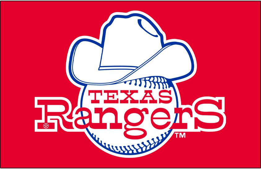 Texas Rangers Logo Primary Dark Logo (1981) - Texas Rangers primary logo on red background SportsLogos.Net