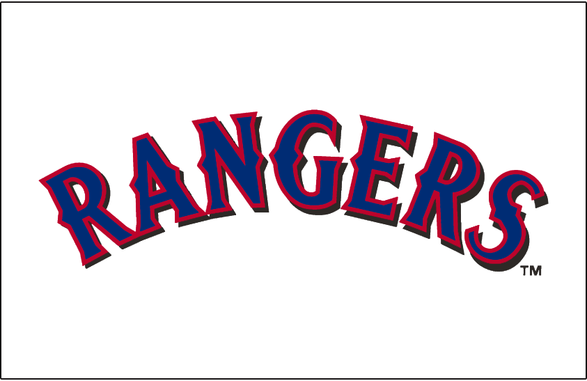 Texas Rangers Logo Jersey Logo (2001-2008) - Rangers in blue with red outline and black shadow, worn on the Texas Rangers home uniform from 2001 to 2008 SportsLogos.Net