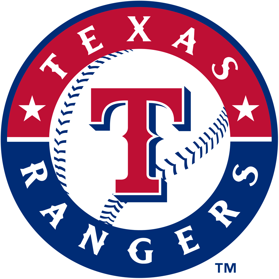 Texas Rangers Logo Primary Logo (2003-Pres) - Red T on a baseball in red and blue ring with team name SportsLogos.Net