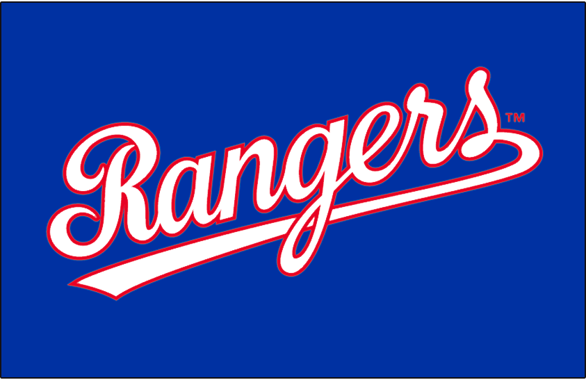 Texas Rangers Logo Jersey Logo (1984-1993) - Rangers scripted in white with red outline on blue. Worn on the Texas Rangers road blue jerseys in 1984 and 1985, also worn on their batting practice jersey from 1984 through 1993. SportsLogos.Net