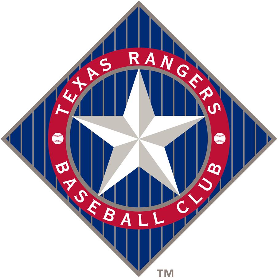 Texas Rangers Logo Primary Logo (1994-2002) - A star in a circle on a blue diamond SportsLogos.Net