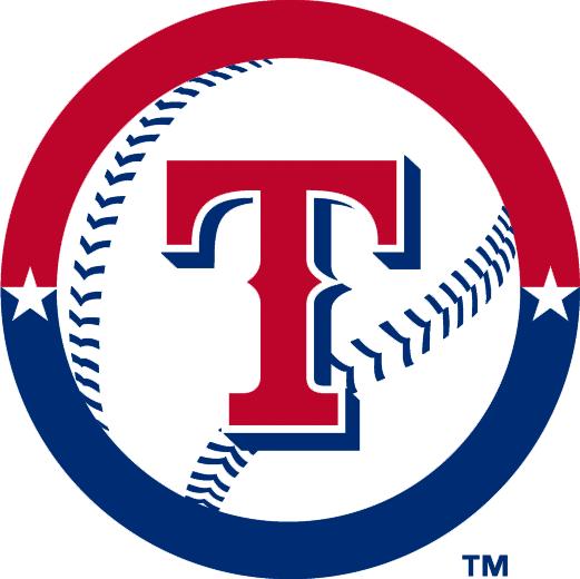Texas Rangers Logo Alternate Logo (2003-2004) - Red T on baseball inside red and blue ring with stars SportsLogos.Net