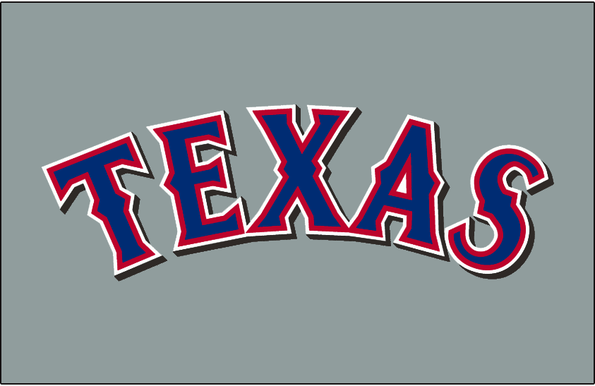 Texas Rangers Logo Jersey Logo (2001-2013) - Texas in blue with red and white outlines and black shadow on grey, worn on the Texas Rangers road jersey from 2001 to 2013. Adjusted slightly for the 2014 season, black drop shadow was removed. SportsLogos.Net