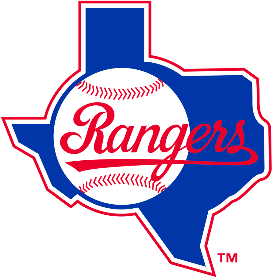Texas Rangers Logo Primary Logo (1984-1993) - Rangers script in red coming out of baseball on blue Texas SportsLogos.Net