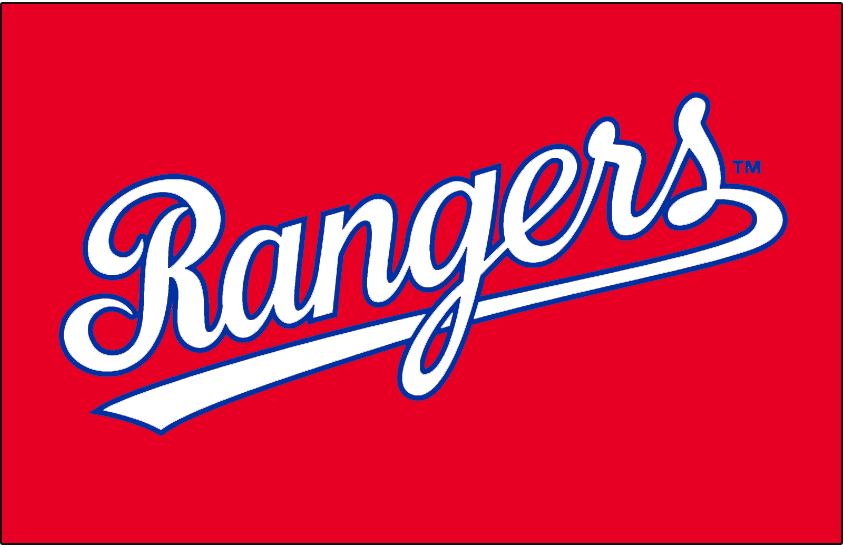 Texas Rangers Logo Jersey Logo (1984-1985) - Rangers scripted in white with blue outline on red, worn on the Texas Rangers red home alternate jersey in 1984 and 1985  SportsLogos.Net