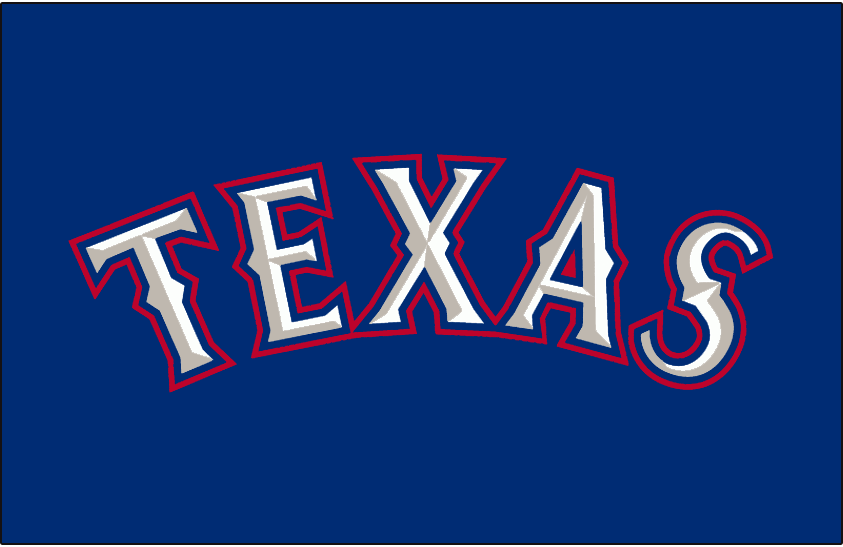 Texas Rangers Logo Jersey Logo (2000-2013) - Texas in white with silver bevelling and blue and red outlines on blue. Worn on the Texas Rangers blue alternate jersey from 2000 to 2013. This logo was adjusted slightly for 2014 as the bevelling was removed from the letters.  SportsLogos.Net
