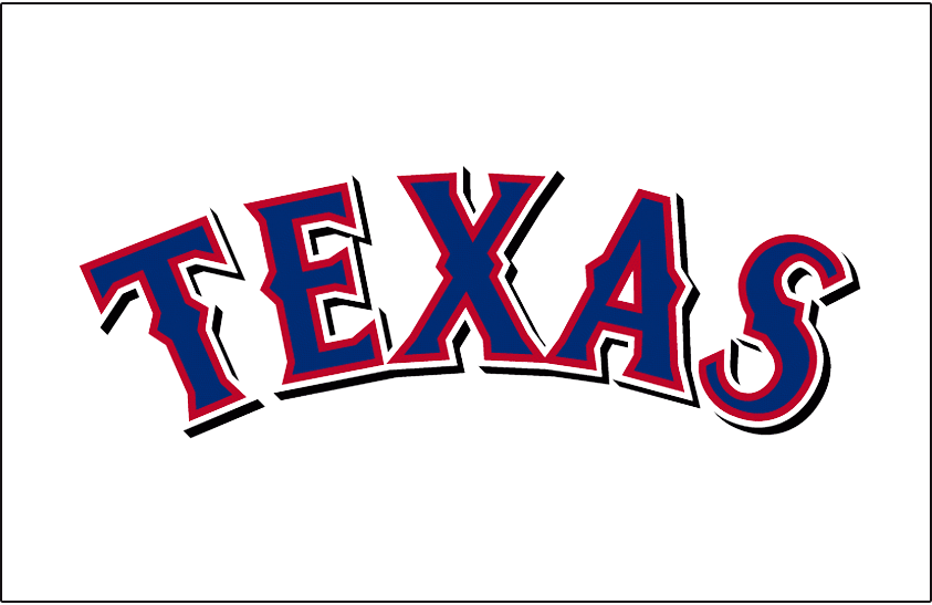 Texas Rangers Logo Jersey Logo (2009-2013) - Texas in blue with red and white outlines and black shadow, worn on Texas Rangers home white uniform from 2009 to 2013. Black drop shadow eliminated for 2014 season. SportsLogos.Net