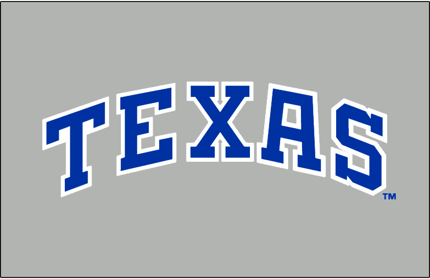 Texas Rangers Logo Jersey Logo (1985-1993) - Texas in block blue capitals with white outline arched on grey. Worn on the Texas Rangers road grey jerseys from 1986 to 1993, was also worn just for the final month of 1985 season. SportsLogos.Net