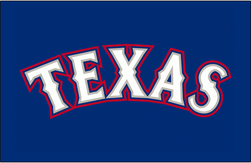Texas Rangers Logo Batting Practice Logo (2009-2019) - Texas in white with silver, blue and red outlines on blue. Worn on Texas Rangers batting practice jersey beginning in 2009 SportsLogos.Net