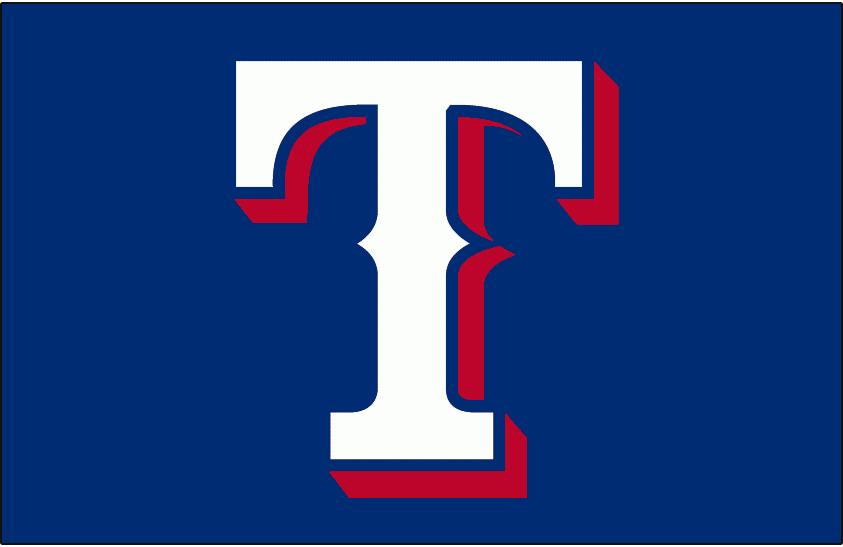 Texas Rangers Logo Cap Logo (2000-Pres) - A white T with red shadow on blue SportsLogos.Net