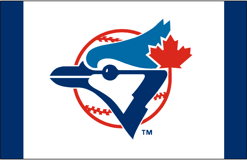 Toronto Blue Jays Logo Cap Logo (1977-1993) - A Blue Jay head on a red and white baseball with a red maple leaf on white SportsLogos.Net