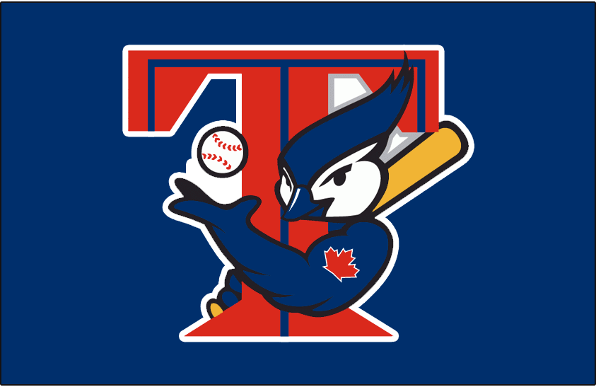 Toronto Blue Jays Logo Batting Practice Logo (2001-2003) - Blue Jays T-Bird logo on a blue background. Worn on Toronto Blue Jays batting practice jerseys from 2001-2003 SportsLogos.Net