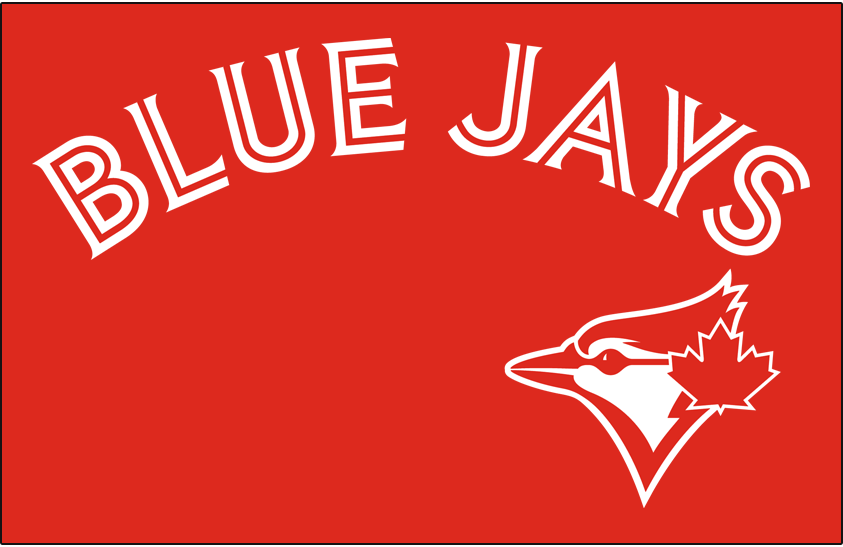 Toronto Blue Jays Logo Jersey Logo (2017-2019) - Blue Jays in white with red in-line on red with red and white version of primary logo SportsLogos.Net