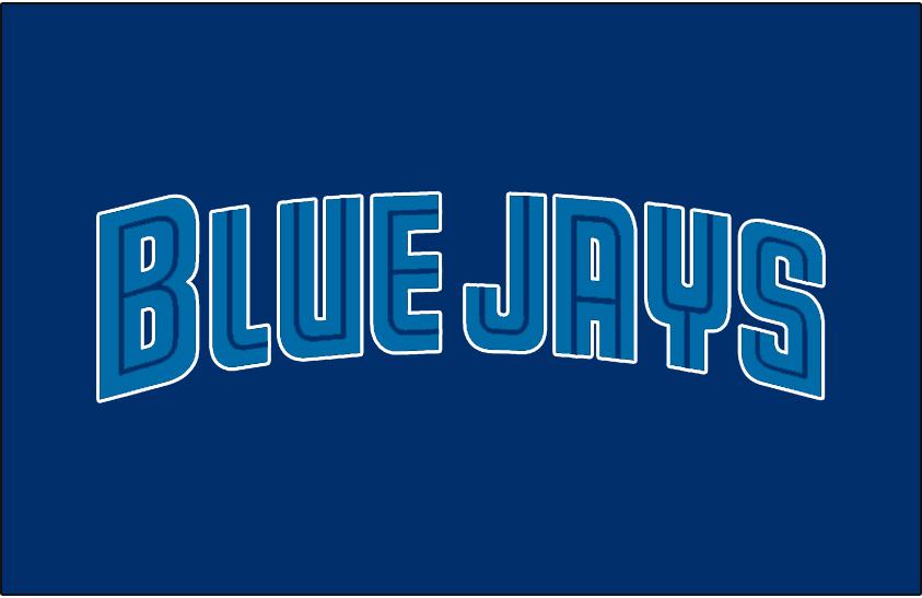 Toronto Blue Jays Logo Unused Logo (1997) - BLUE JAYS in light blue and blue split lettering on a blue jersey. Intended to be worn on a Toronto Blue Jays alternate uniform beginning in the 1997 season SportsLogos.Net