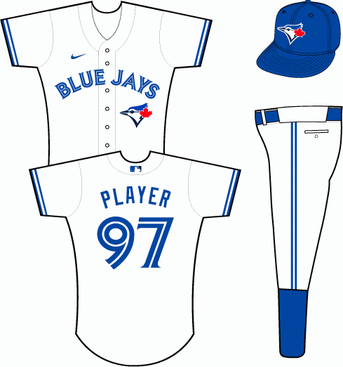 Toronto Blue Jays Uniform Home Uniform (2020-Pres) - BLUE JAYS arched in blue over the team's primary logo on a white uniform SportsLogos.Net
