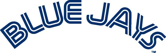 Toronto Blue Jays Logo Wordmark Logo (1977-1996) - Blue Jays in blue with a thin white inline SportsLogos.Net